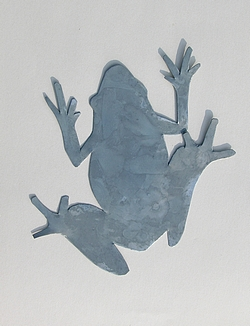 Decor metal grenouille en zinc